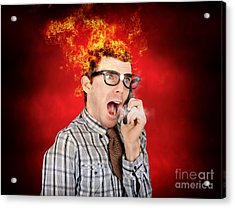 Angry Business Man Engulfed In Flames Acrylic Print by Jorgo Photography - Wall Art Gallery
