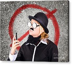 Angry Businessperson With No Mobile Phone Signal Acrylic Print by Jorgo Photography - Wall Art Gallery