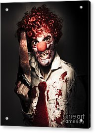 Angry Horror Clown Holding Butcher Saw In Darkness Acrylic Print by Jorgo Photography - Wall Art Gallery