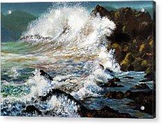 Angry Sea Acrylic Print by Walter Fahmy