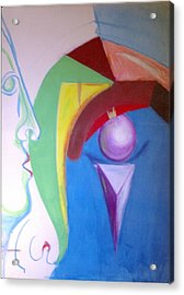 Acrylic Print featuring the painting Angry Woman In The Shape Of A Queen Anne's Chair Leg by Rod Ismay