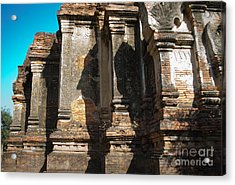 Angular Corner Of Temple In Burma With Sunny Blue Sky Acrylic Print