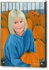 Acrylic Print featuring the painting Ani In The Pumpkin Patch by Gail Finn