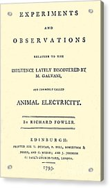 Animal Electricity, Title Page Acrylic Print by Wellcome Images