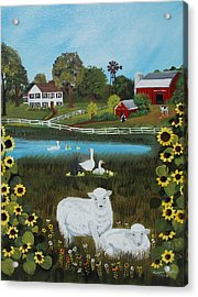Acrylic Print featuring the painting Animal Farm by Virginia Coyle