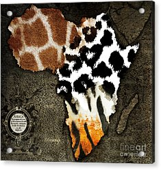 Animal Fur Map Of Africa Acrylic Print by Mindy Sommers