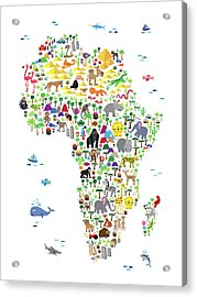 Animal Map Of Africa For Children And Kids Acrylic Print