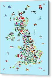 Animal Map Of Great Britain And Ni For Children And Kids Acrylic Print