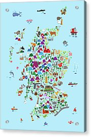 Animal Map Of Scotland For Children And Kids Acrylic Print