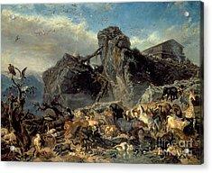 Animals Leaving The Ark, Mount Ararat  Acrylic Print by Filippo Palizzi