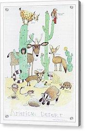 Animals With Cacti In Desert - F Acrylic Print
