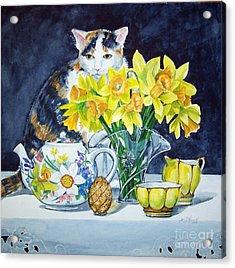 Annabelle Behind Flowers Acrylic Print