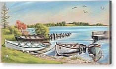 Annadown Pier Acrylic Print by Vanda Luddy