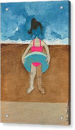 Annatte At The Beach With Bandaids Acrylic Print by Ricky Sencion