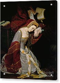 Anne Boleyn In The Tower Acrylic Print by Edouard Cibot