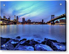 Another Day Comes To A Close In Nyc Acrylic Print by Daniel Portalatin