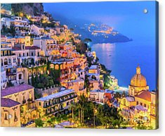 Acrylic Print featuring the digital art Another Glowing Evening In Positano by Rosario Piazza