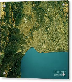 Antalya Topographic Map Natural Color Top View Acrylic Print by Frank Ramspott