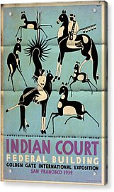 Antelope Hunt From A Navaho Drawing Exhibition - Vintage Poster Folded Acrylic Print