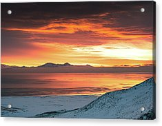 Acrylic Print featuring the photograph Antelope Island Sunset by Bryan Carter