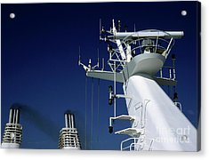 Antennas And Chimneys On A Large Ferry Acrylic Print by Sami Sarkis