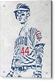 Anthony Rizzo Chicago Cubs Pixel Art Acrylic Print by Joe Hamilton