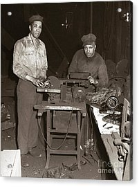 Anthracite Coal Artist  Charles Edgar Patience On Right  1906-1972 In Studio 1953    Acrylic Print