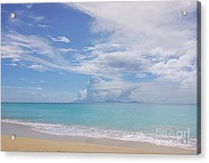 Antigua Beach View Of Montserrat Volcano Acrylic Print