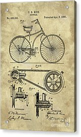 Antique Bicycle Blueprint Patent Drawing Plan, Industrial Farmhouse Acrylic Print by Tina Lavoie