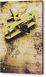 Antique Biplane On Old Map Acrylic Print by Jorgo Photography - Wall Art Gallery