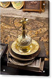 Antique Brass Pitcher Acrylic Print by Rae Tucker
