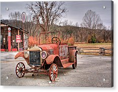 Antique Car And Filling Station 1 Acrylic Print by Douglas Barnett