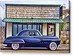 Antique Car - Blue Acrylic Print by Carol Leigh