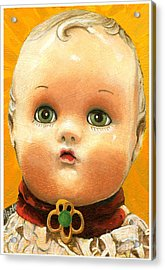 Antique Doll Oil Painting Acrylic Print by Linda Apple