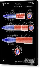 Antique Fountain Pen Patent, Year 1939, Red And Blue On Black Background Acrylic Print by Pablo Franchi