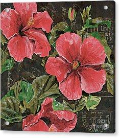 Antique Hibiscus Black 2 Acrylic Print by Debbie DeWitt