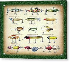 Antique Lures Green Crackle Acrylic Print