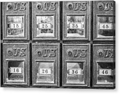 Antique Mailbox Black And White Acrylic Print