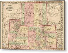 Antique Map - Colton's Wyoming Colorado And Utah 1876 Acrylic Print