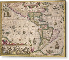 Antique Map Of America Acrylic Print by Jodocus Hondius