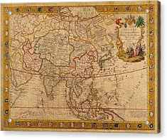 Antique Map Of Asia 1732 Vintage On Worn Canvas Acrylic Print by Design Turnpike