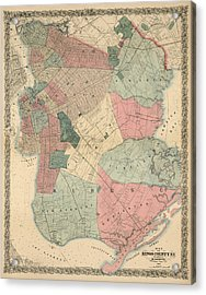 Acrylic Print featuring the drawing Antique Map Of Brooklyn - New York City - By M. Dripps - 1868 by Blue Monocle