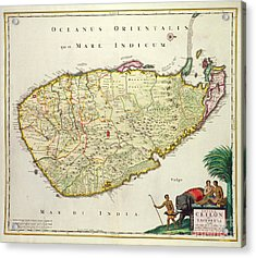 Antique Map Of Ceylon Acrylic Print by Nicolas Visscher