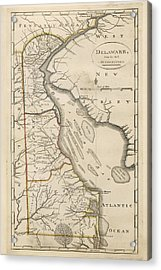 Acrylic Print featuring the drawing Antique Map Of Delaware By Mathew Carey - 1814 by Blue Monocle
