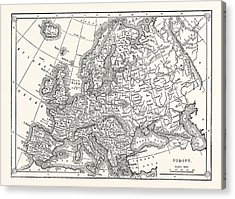 Antique Map Of Europe Acrylic Print