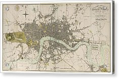 Antique Map Of London - Old Cartographic Maps - London In Miniature, 1807 By Edward Mogg Acrylic Print