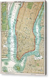 Antique Map Of Lower Manhattan And Central Park Acrylic Print by American School