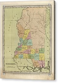 Acrylic Print featuring the drawing Antique Map Of Mississippi By David Burr - 1835 by Blue Monocle