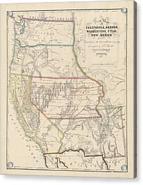 Acrylic Print featuring the drawing Antique Map Of The Western United States By John Disturnell - 1853 by Blue Monocle