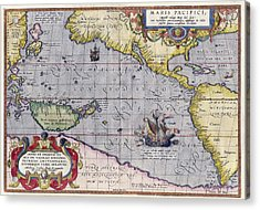 Antique Map Of The World By Abraham Ortelius - 1589 Acrylic Print by Marianna Mills